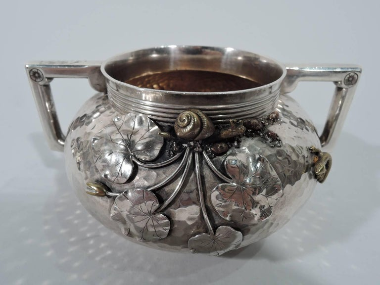 Gorham Japonesque Hand-Hammered Sterling Silver and Mixed Metal Tea Set For Sale 3