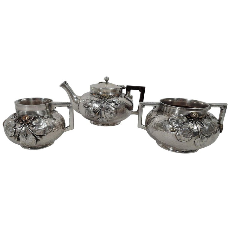 Gorham Japonesque Hand-Hammered Sterling Silver and Mixed Metal Tea Set For Sale