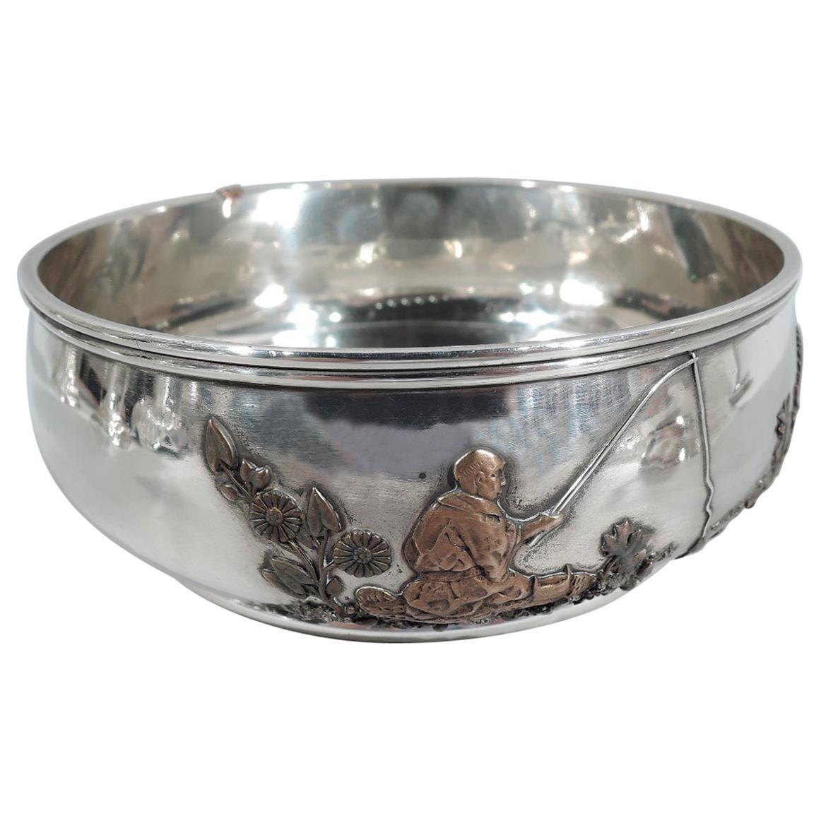 Gorham Japonesque Mixed Metal & Sterling Silver Fisherman Bowl