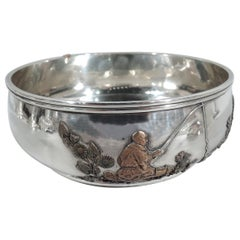 Gorham Japonesque Mixed Metal & Sterling Silver Fisherman Bowl