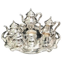 Gorham Martele Silver Six Piece Coffee and Tea Service with Tray 1905-1907