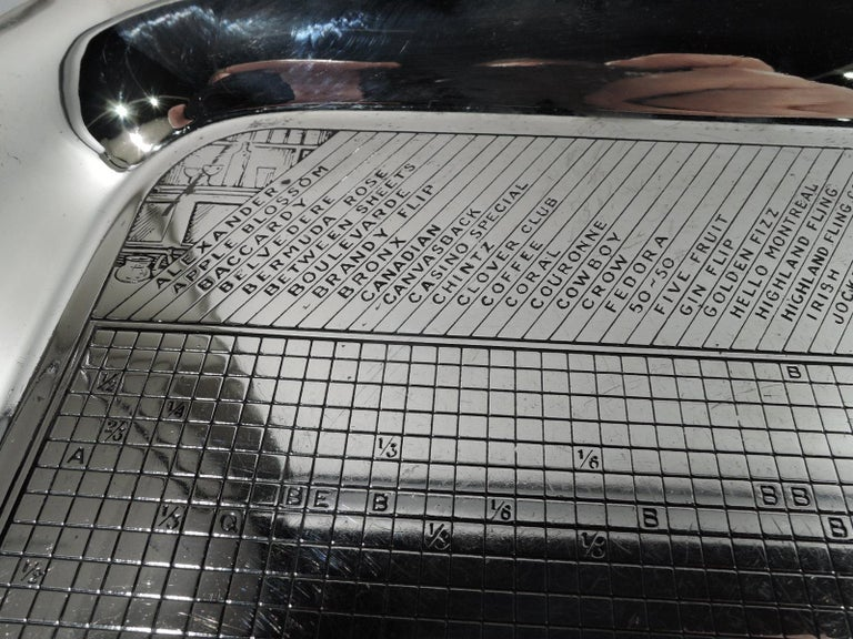 Mid-Century Modern sterling silver bar tray. Made by Gorham in Providence. Square with curved corners, plain and tapering sides, and scalloped corners. Well has engraved drinks-mixing chart in form of grid with ingredients at right and measurements