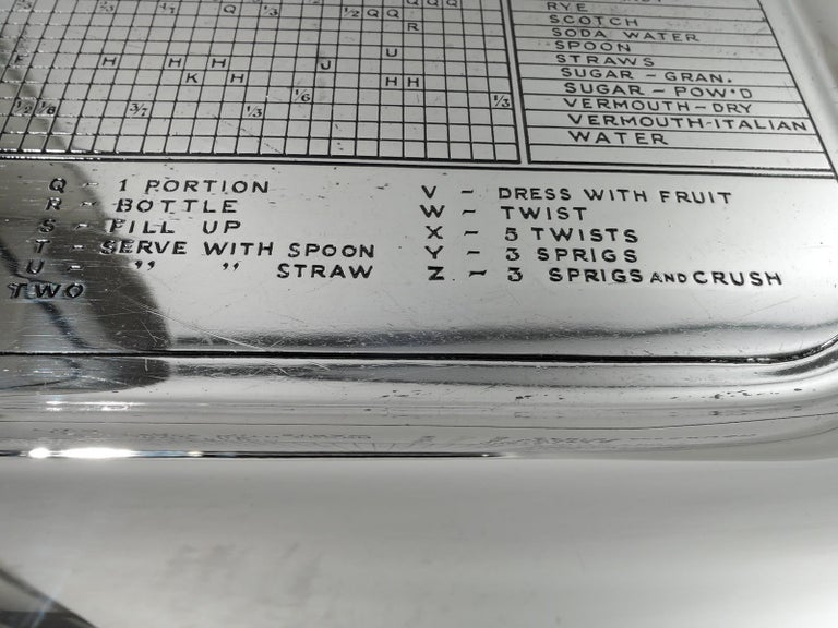 Gorham Mid-Century Modern Sterling Silver Mixed Drinks Bar Tray For Sale 3