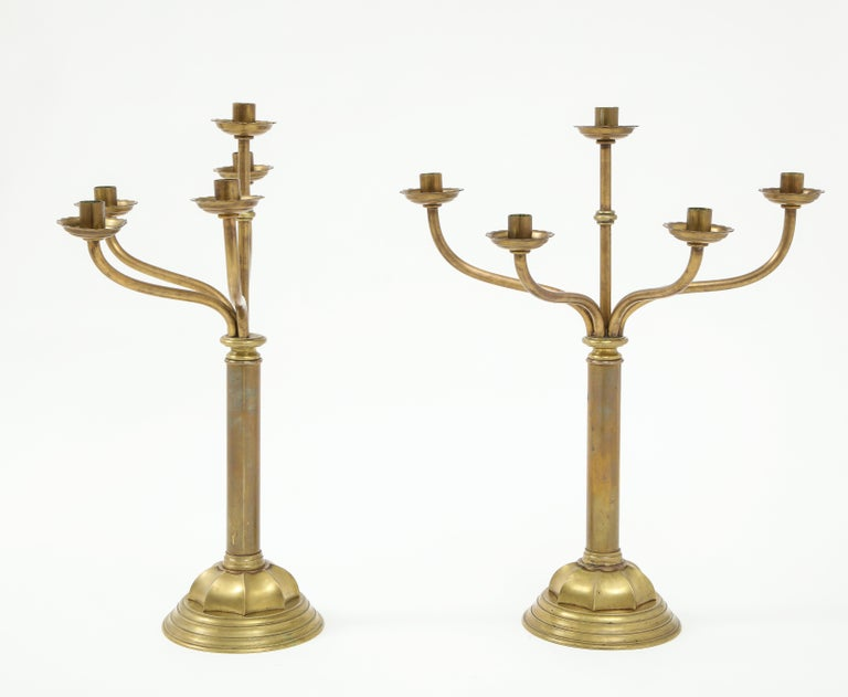 Stunning pair of large late 1800s solid brass 5-arm candlesticks by Gorham Co. In vintage original condition with some wear and patina due to age and use.
