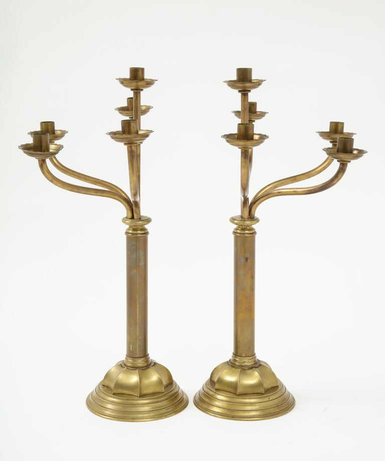 American Empire Gorham Solid Brass Antique Candlesticks For Sale