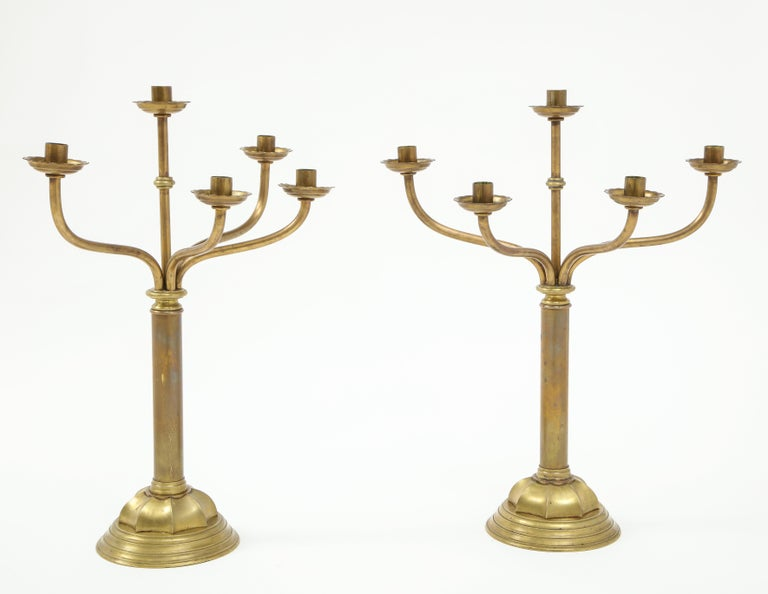 American Gorham Solid Brass Antique Candlesticks For Sale
