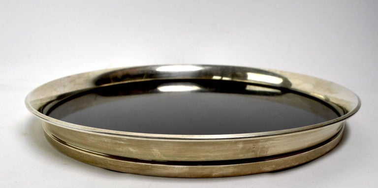 Classic modernist Art Deco serving tray. This example is in very good, original, and clean condition. Fully and correctly marked Gorham Sterling 1064.