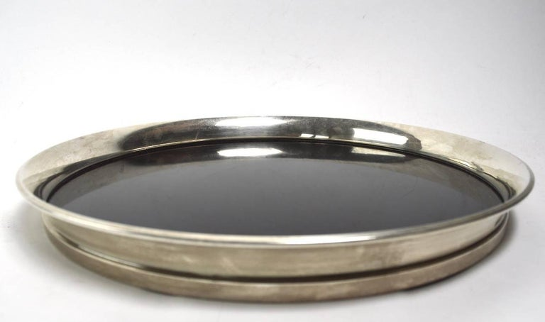 Art Deco Gorham Sterling and Black Laminate Serving Tray For Sale