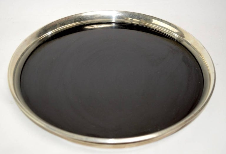 American Gorham Sterling and Black Laminate Serving Tray For Sale