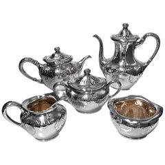 Gorham Sterling Art & Crafts Nouveau Tea Coffee Set, 1897