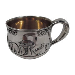 Gorham Sterling Silver Ark Baby Cup with Umbrella-Toting Noah & Naamah