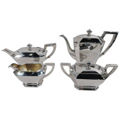 Gorham Sterling Silver Coffee and Tea Set in Art Deco Fairfax Pattern