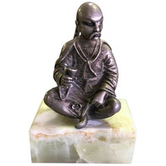 Gorham Sterling Silver Miniature Sculpture of Chinese Man, circa Late 1800s
