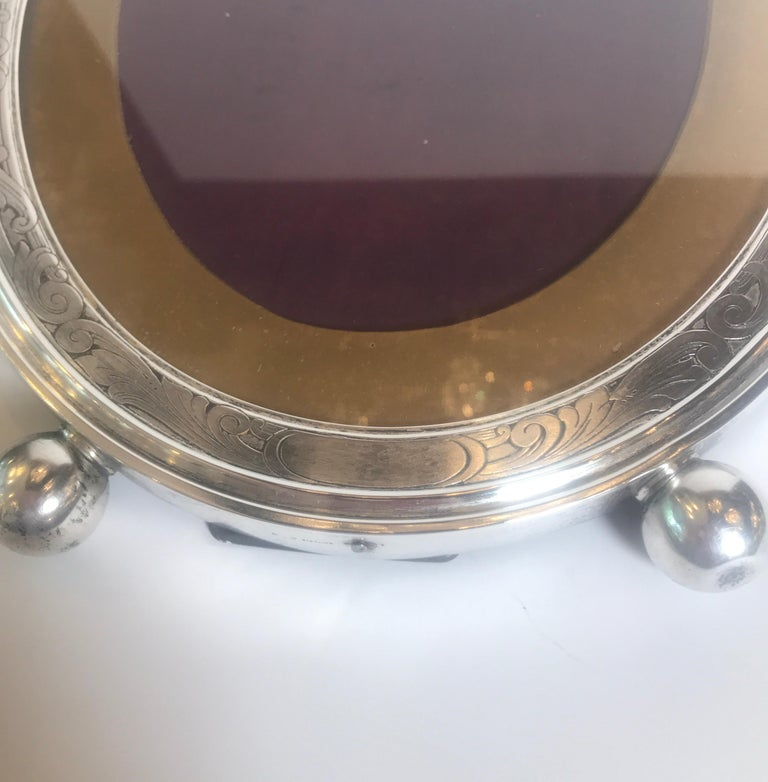 19th Century Gorham Sterling Silver Oval Picture Frame For Sale