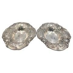 Gorham Sterling Silver Pair of 1917 Repousse Art Nouveau Centerpiece Bowls