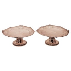 Gorham Sterling Silver Pair of Tazzas Compotes Dishes in Gregorian Pattern