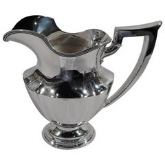 Gorham Sterling Silver Water Pitcher in Art Deco Plymouth Pattern