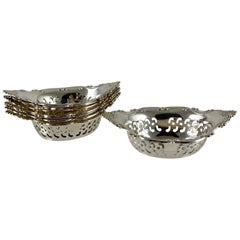 Gorham Strasbourg Sterling Silver Pierced Nut Cups, Set of Eight, circa 1940s