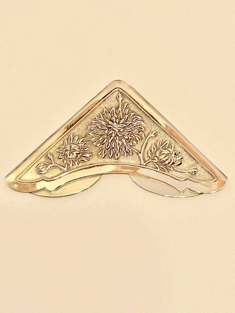 Women's or Men's Gorham Victorian Sterling Silver Detailed Bursting Floral Bookmark For Sale