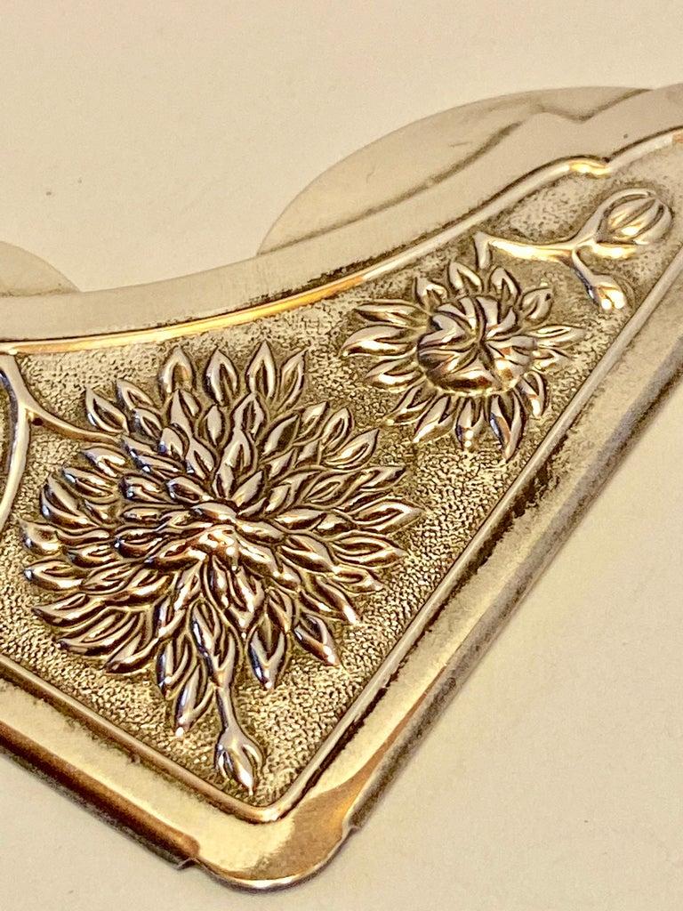 Gorham Victorian Sterling Silver Detailed Bursting Floral Bookmark For Sale 3