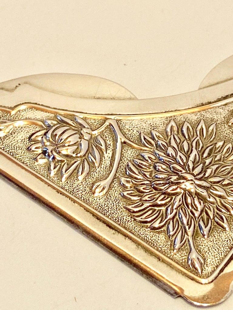 Gorham Victorian Sterling Silver Detailed Bursting Floral Bookmark For Sale 4