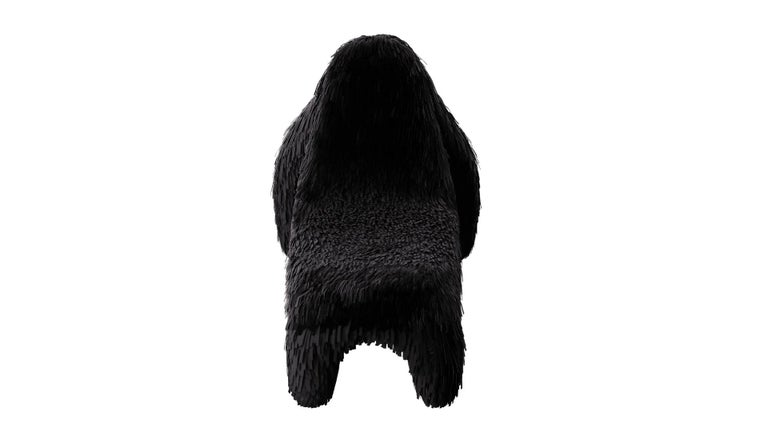 Modern Gorilla Chair with Real Black Leather by Marcantonio For Sale
