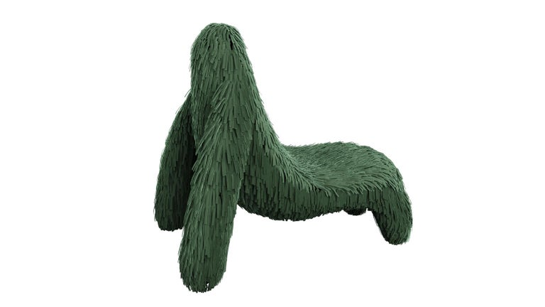 """Gorilla chair with real green leather by Marcantonio is an ape shaped seat with a rich green leather covering. A lounge chair with a fantastic, unique shape.  For his debut creations, Marcantonio introduced """"Vegetal Animal"""", a concept that evokes"""