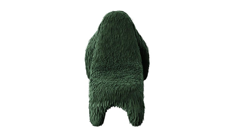 Modern Gorilla Chair with Real Green Leather by Marcantonio For Sale