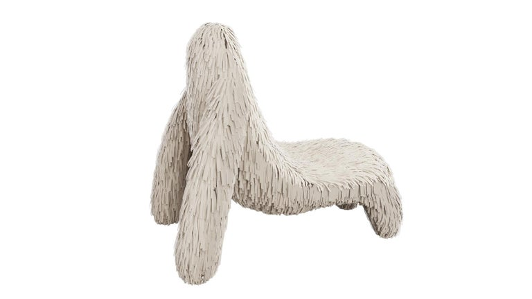Gorilla chair with real off white leather by Marcantonio is an ape shaped seat with a rich off white leather covering. A lounge chair with a fantastic, unique shape.