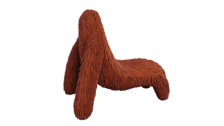 """Gorilla Chair with Real Red Leather by Marcantonio is an ape shaped seat with a rich red leather covering. A lounge chair with a fantastic, unique shape.   For his debut creations, Marcantonio introduced """"Vegetal Animal"""", a concept that evokes"""