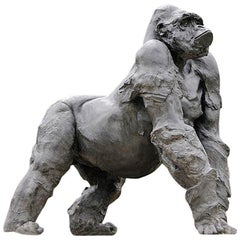 Gorilla Grey Resin Sculpture