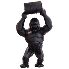 Gorilla Kong Black Sculpture in Black Matt Resine Orlinski