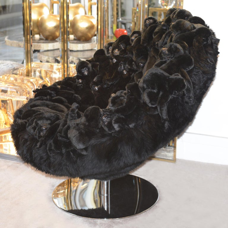 Belgian Gorillas Armchair Swivel in Limited Edition For Sale