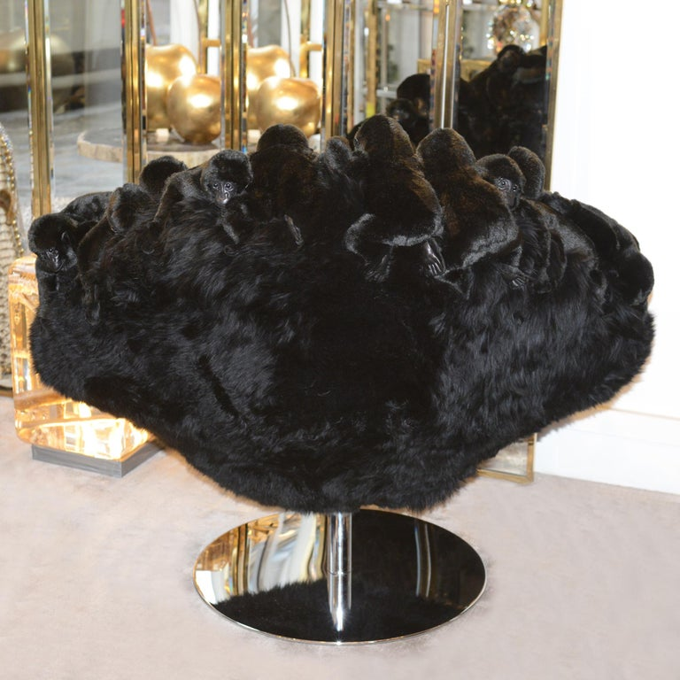 Polished Gorillas Armchair Swivel in Limited Edition For Sale