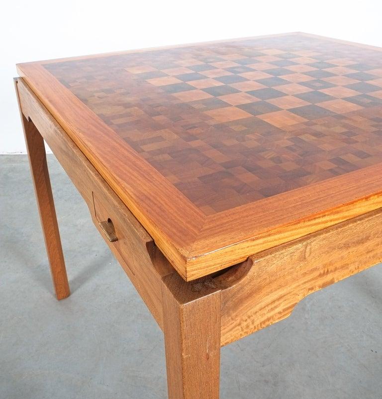 Gorm Lindum Teak Leather Chess or Card Game Table, Tranekær Denmark, 1950 For Sale 4