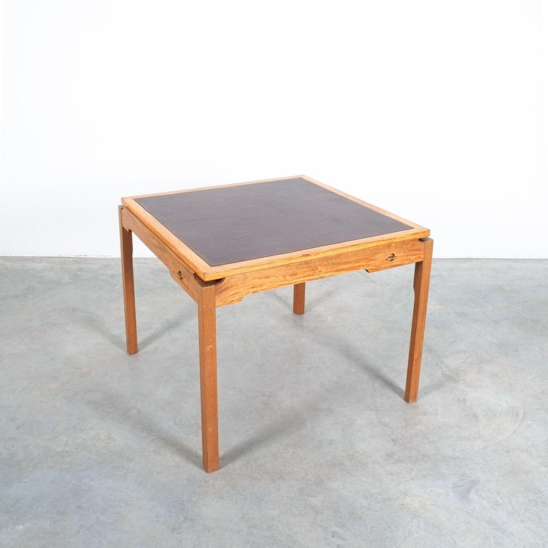 Gorm Lindum, Rolf Middelboe (marquetry) teak game table, for Tranekaer Denmark, circa 1955