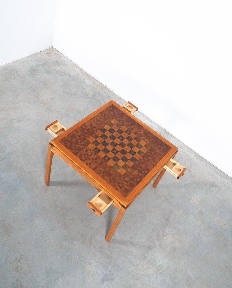 Danish Gorm Lindum Teak Leather Chess or Card Game Table, Tranekær Denmark, 1950 For Sale