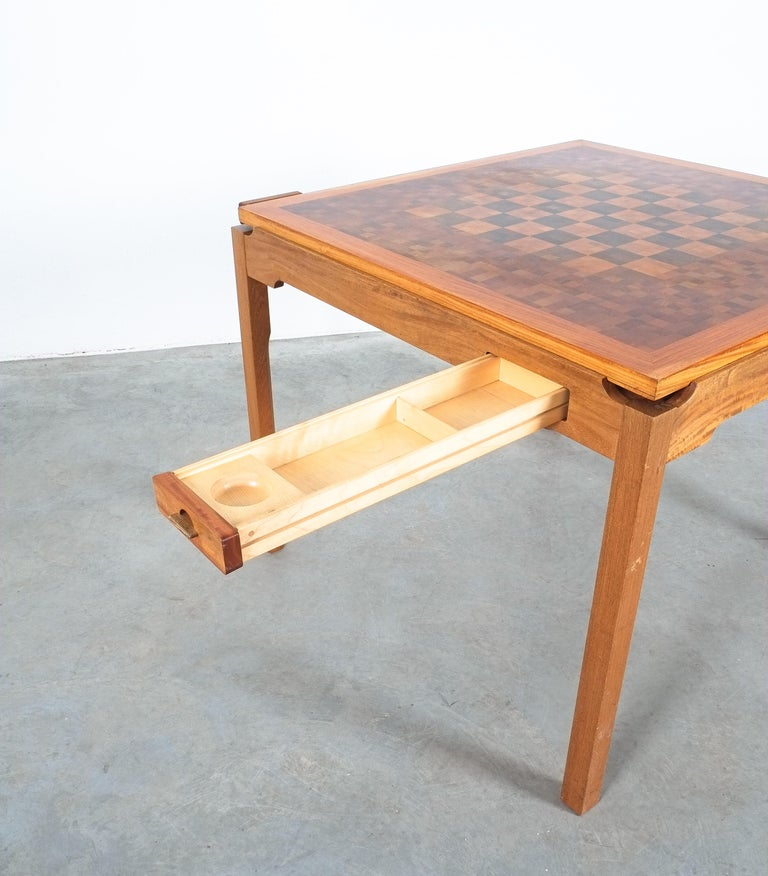 Mid-20th Century Gorm Lindum Teak Leather Chess or Card Game Table, Tranekær Denmark, 1950 For Sale