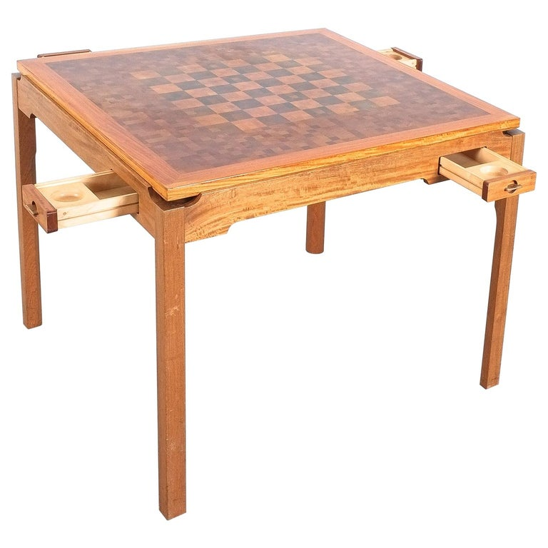 Gorm Lindum Teak Leather Chess or Card Game Table, Tranekær Denmark, 1950 For Sale