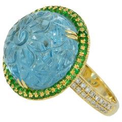 Goshwara 18 Karat Yellow Gold Hand Carved Aquamarine Tsavorite Diamond Ring