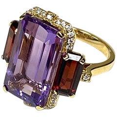 Goshwara 3-Stone Amethyst and Garnet Emerald Cut with Diamonds Ring