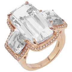 Goshwara 3-Stone Rock Crystal with Diamonds Cushion Ring