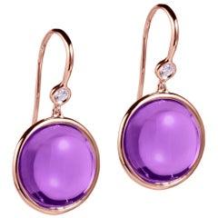 Goshwara Amethyst and Diamond Disc Earrings