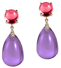Goshwara Amethyst and Garnet Cabochon Drop Earring