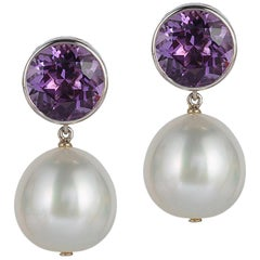 Goshwara Amethyst Bezel Set with Pearl Earrings