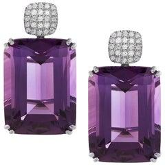 Goshwara Amethyst Cushion with Diamonds Earrings