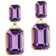 Goshwara Amethyst Double Emerald Cut Earrings