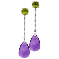 Goshwara Amethyst Drop and Peridot Cabochon and Diamond Earrings