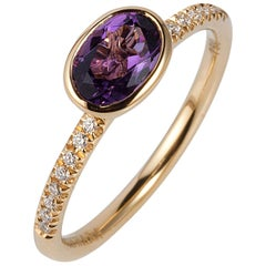 Goshwara Oval Amethyst And Diamond Ring