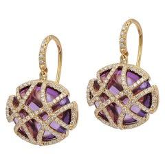 Goshwara Amethyst Oblong with Diamonds Earrings